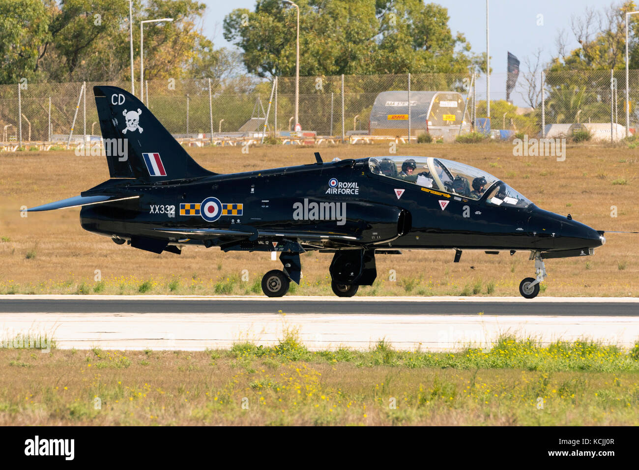Royal Air Force British Aerospace Hawk T1A departing after participating in the static display of 25th Malta International - Stock Image
