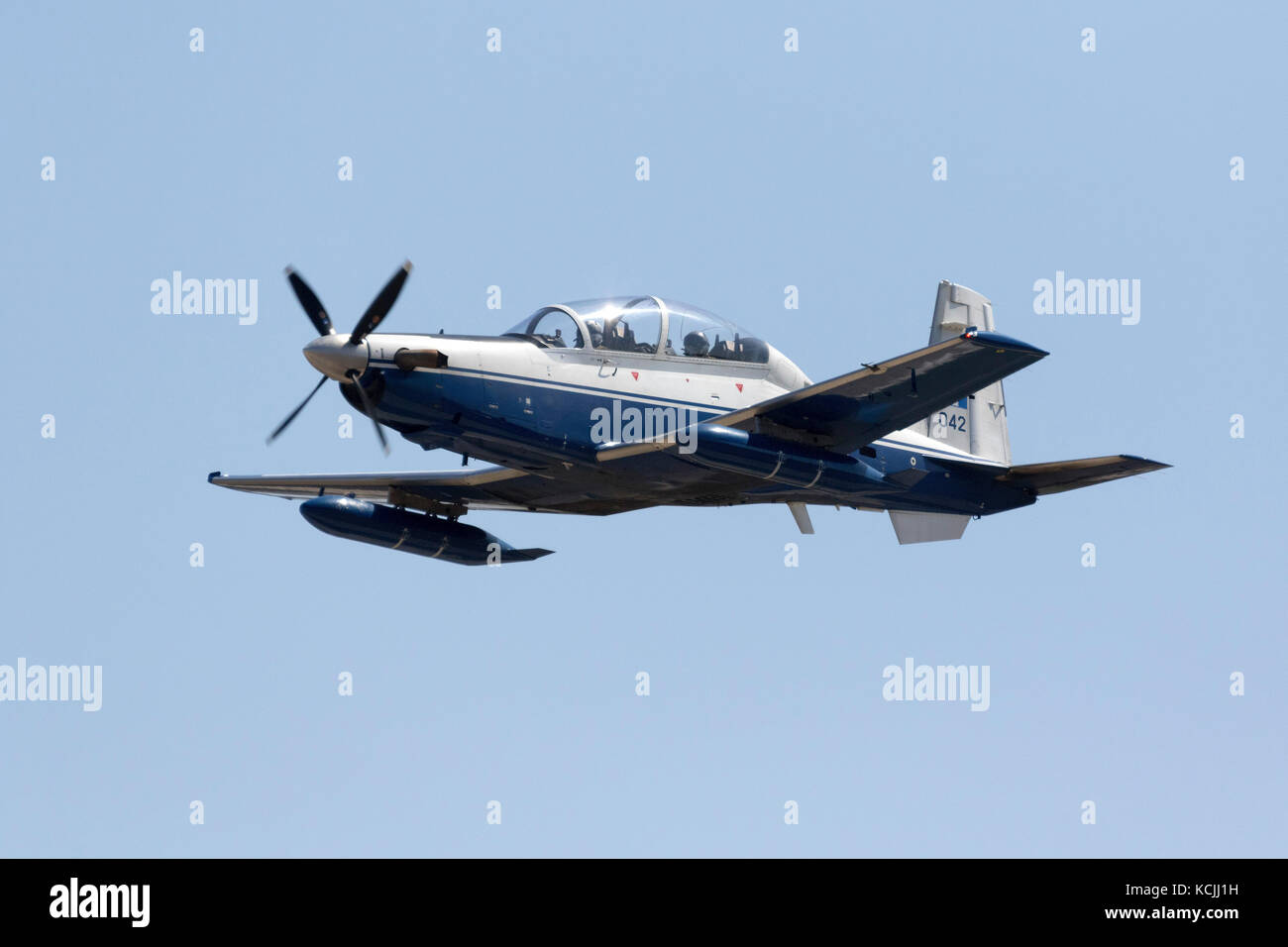 Greek Air Force Raytheon T-6A Texan II [042] departing after participating in the static display of 25th Malta International - Stock Image