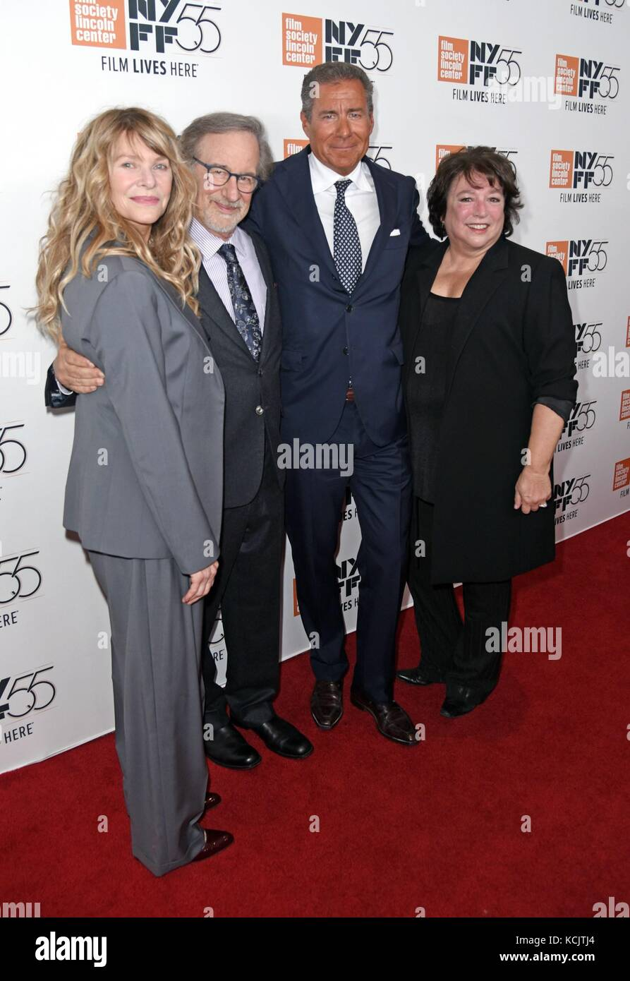 New York, NY, USA. 5th Oct, 2017. Kate Capshaw, Steven Spielberg, Richard Plepler, Susan Lacy at arrivals for SPIELBERG - Stock Image