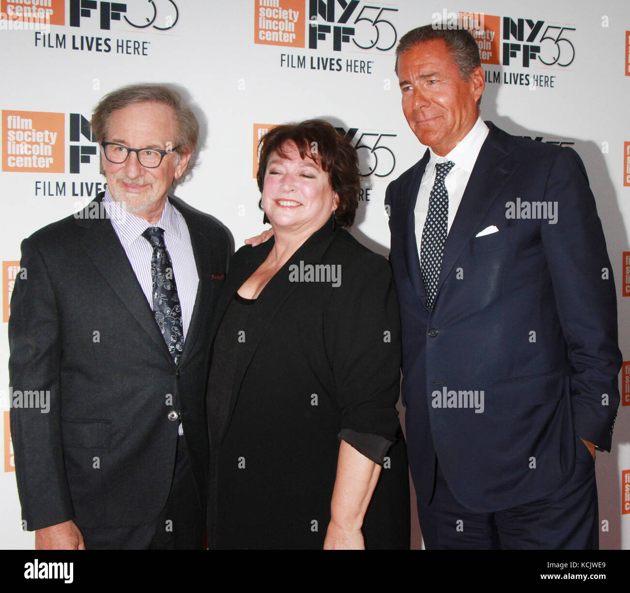 New York, USA. 05th Oct, 2017. New York, NY, USA. 05th Oct, 2017. Steven Spielberg, Susan Lacy, Richard Plepler - Stock Image