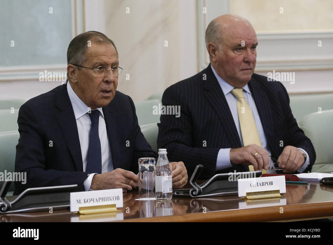 Astana, Kazakhstan. 6th Oct, 2017. Russia's Foreign Minister Sergei Lavrov (L) and his deputy Grigory Karasin - Stock Image