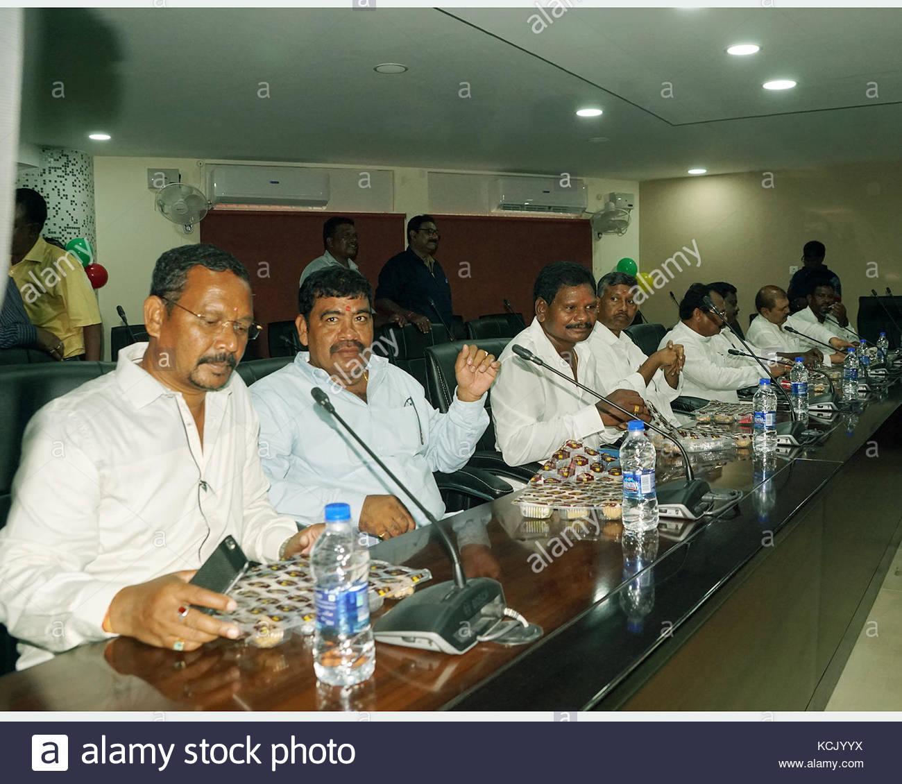 The members of Jharkhand Legislative Assembly), Deepak Birua ( Chaibasa), Niral purty ( Majagaon),(from left) at - Stock Image