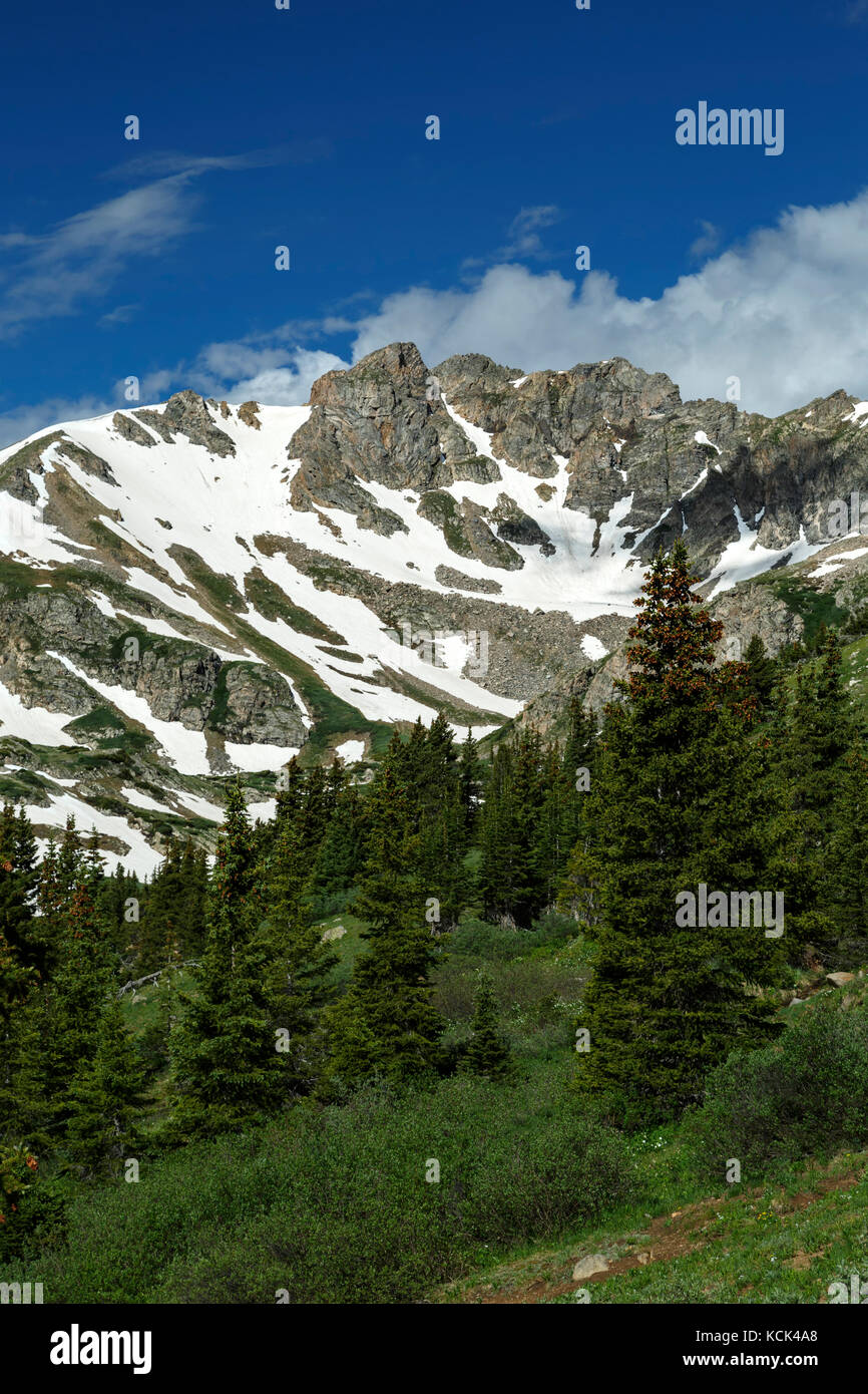 Granite peak from Herman Gulch Trail, Arapaho National Forest, Colorado USA - Stock Image