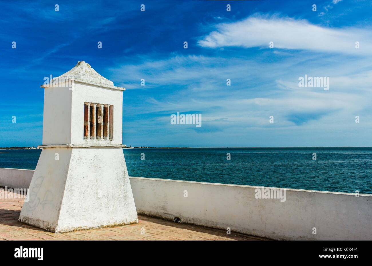 Ria Formosa, Algarve - Portugal. Architecture with Moorish influences. The roof and the chimney are the example - Stock Image
