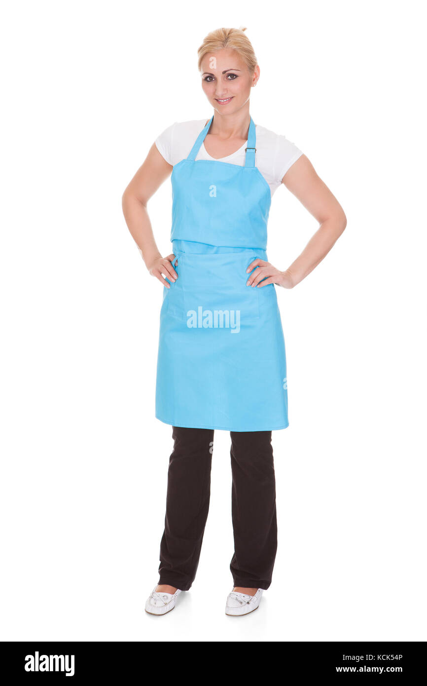Happy Woman Wearing Kitchen Apron Over White Background Stock Photo ...