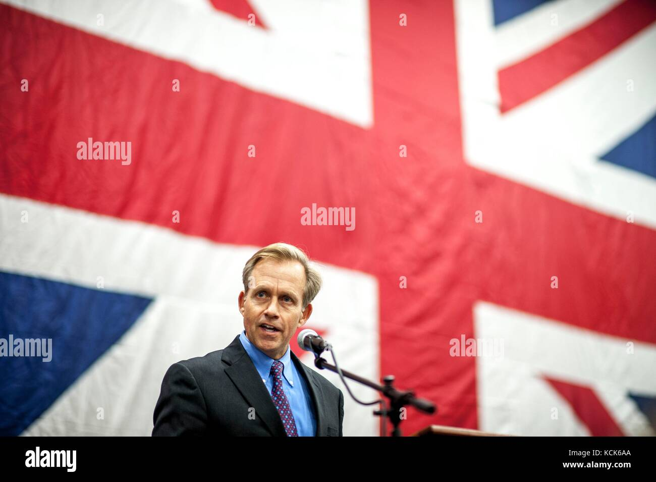 U.S. Embassy London Charge d'Affaires Ambassador Lewis Lukens speaks during a reception for senior military - Stock Image