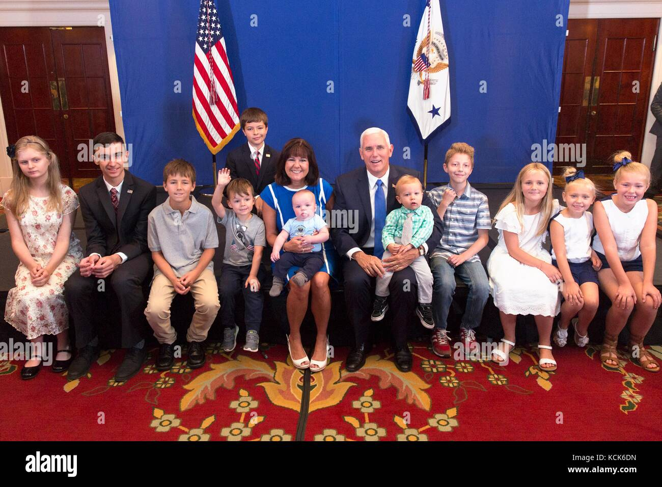 U.S. Vice President Mike Pence and Second Lady Karen Pence meet with Georgian children August 1, 2017 in Tbilisi, - Stock Image