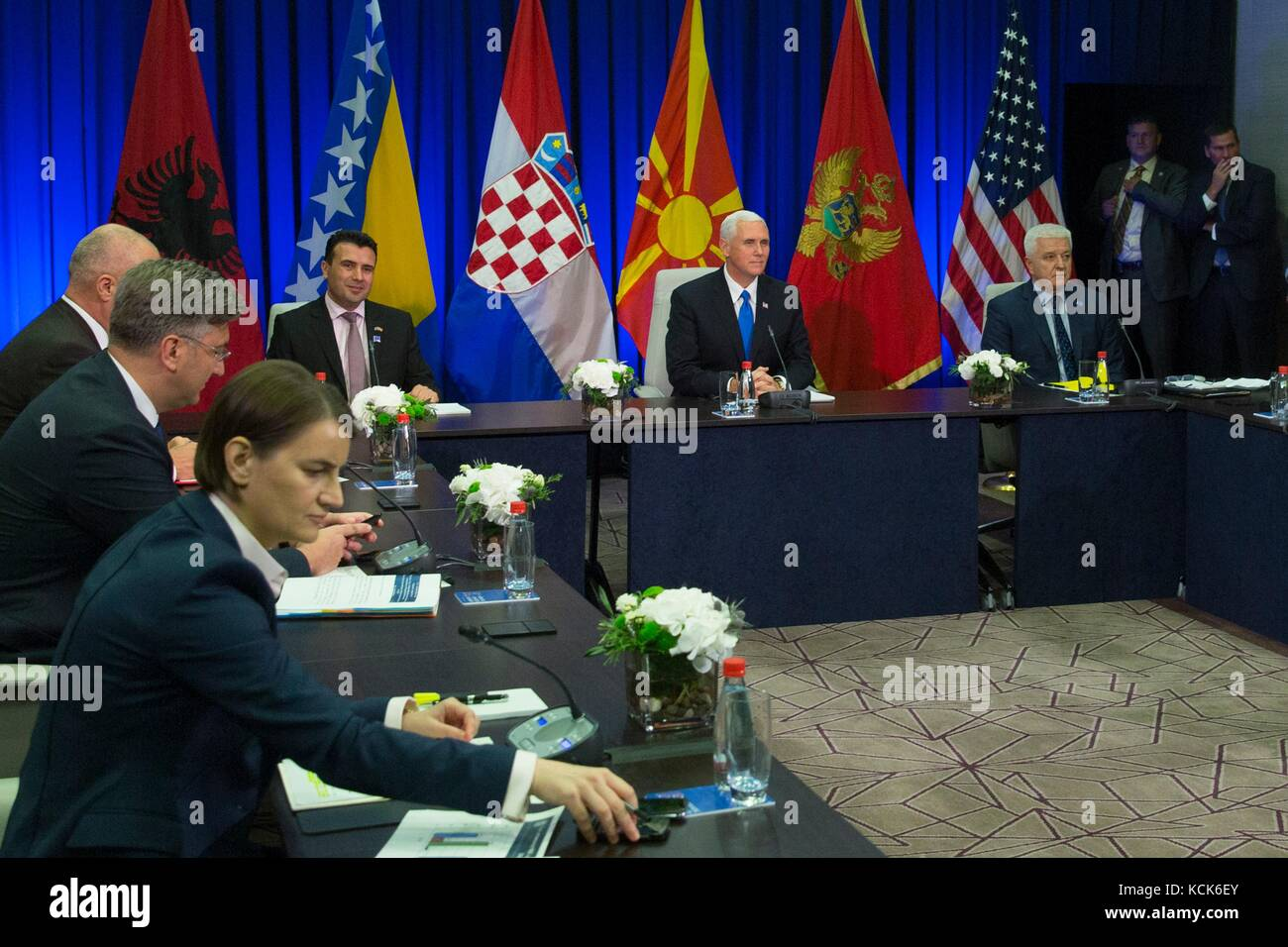 U.S. Vice President Mike Pence meets with Adriatic leaders during the Adriatic Charter Summit at the Hilton Podgorica - Stock Image