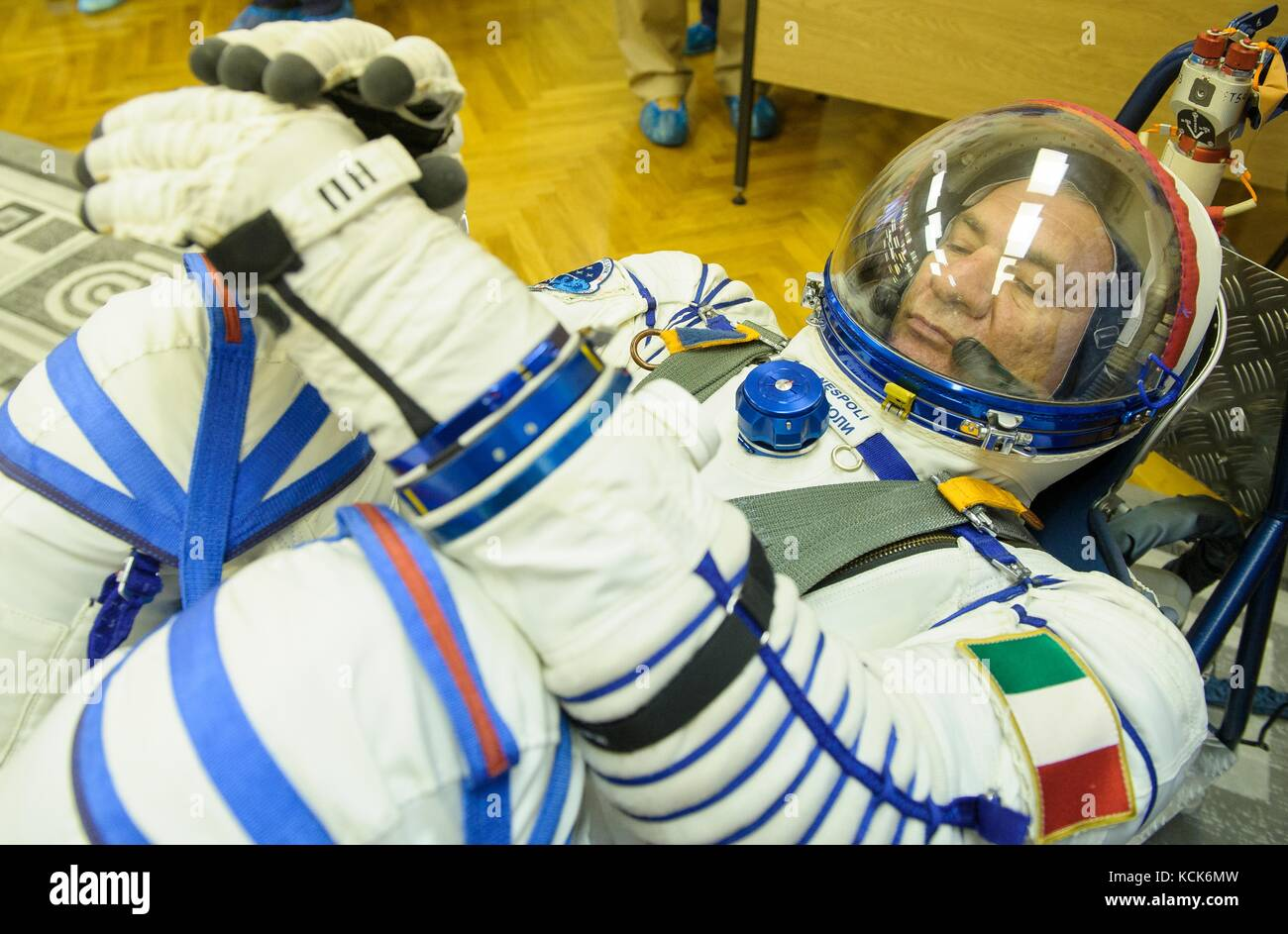 NASA International Space Station Expedition 52 prime crew member Italian astronaut Paolo Nespoli of the European - Stock Image