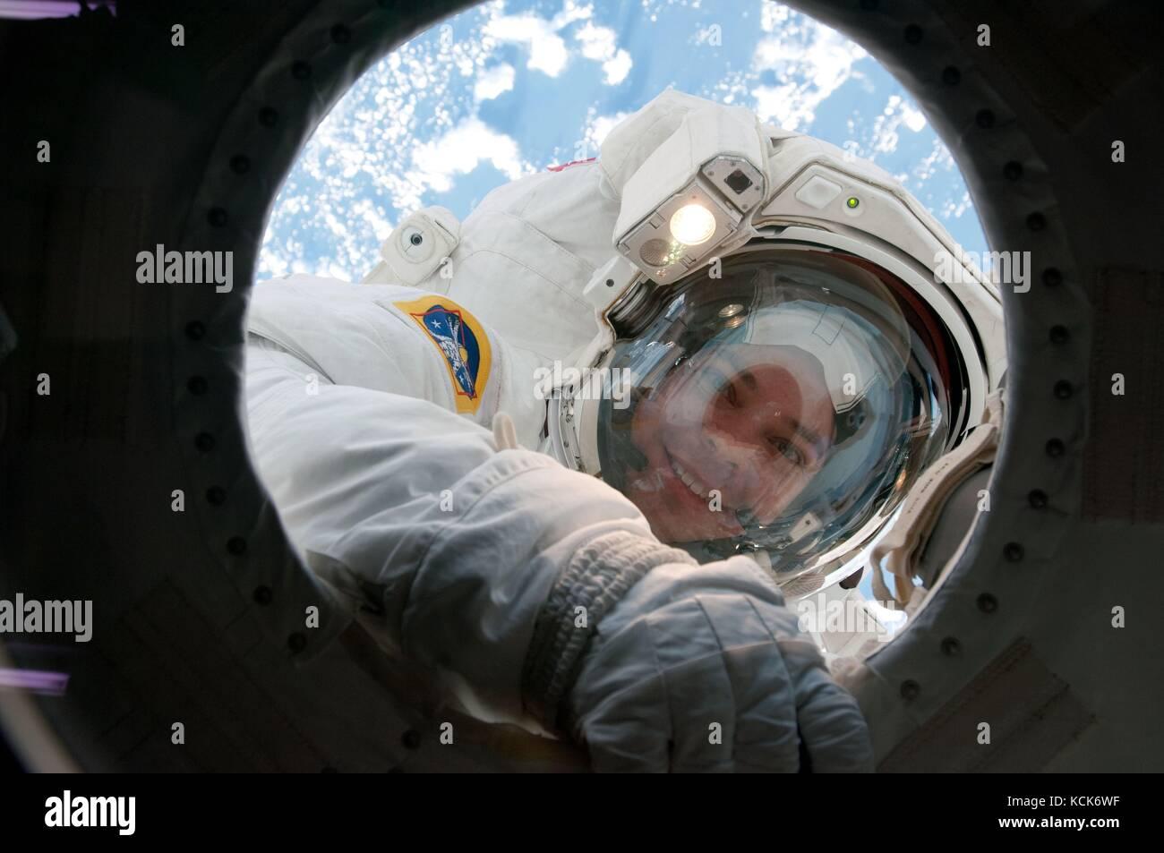 NASA International Space Station STS-130 mission prime crew member American astronaut Robert Behnken smiles through - Stock Image