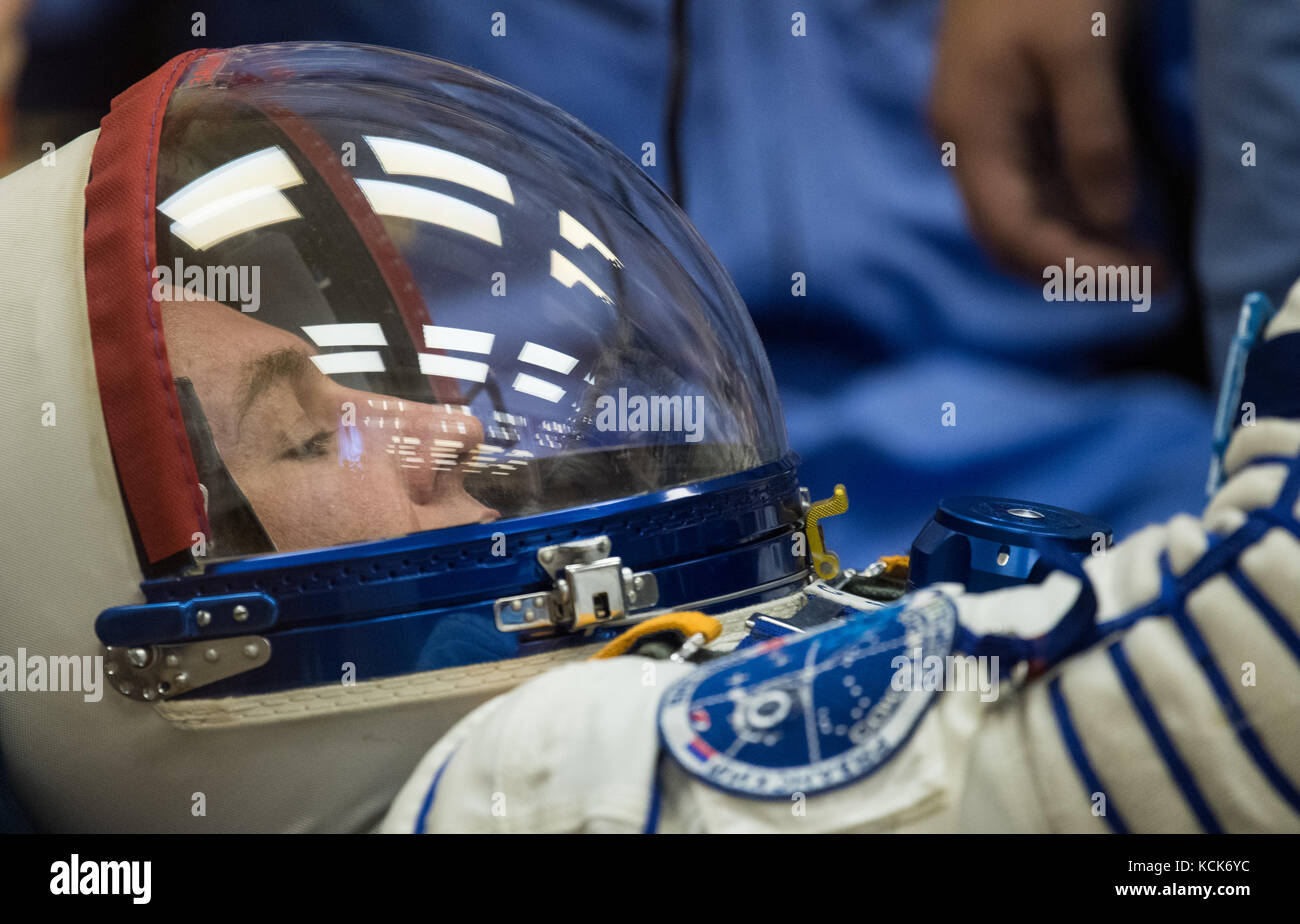 NASA International Space Station Expedition 52 prime crew member Russian cosmonaut Sergey Ryazanskiy of Roscosmos - Stock Image
