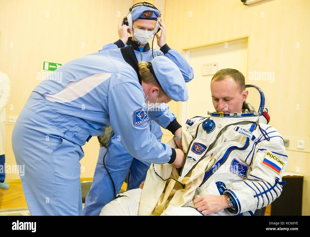 NASA International Space Station Expedition 52 prime crew member Russian cosmonaut Sergey Ryazanskiy of Roscosmos - Stock Image