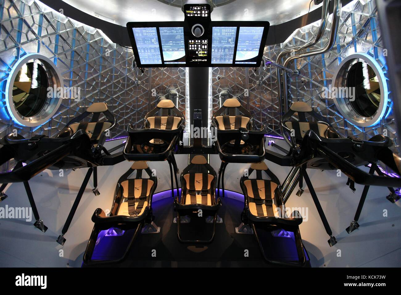The interior of the NASA SpaceX Dragon V2 human-rated spacecraft has a seven-crew capacity May 30, 2014 in Hawthorne, - Stock Image