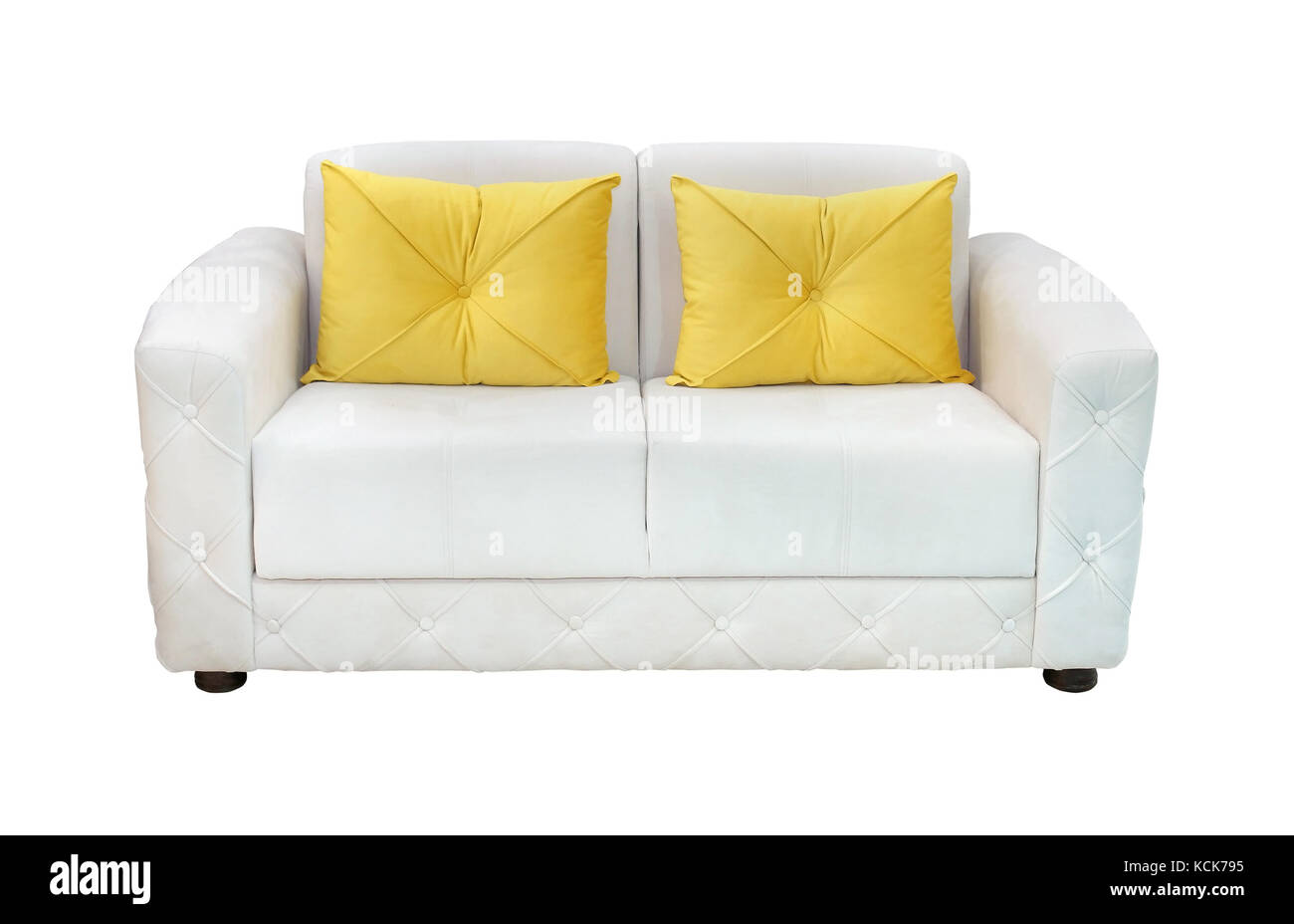 Admirable White Leather Sofa With Yellow Decorative Pillows Isolated Andrewgaddart Wooden Chair Designs For Living Room Andrewgaddartcom