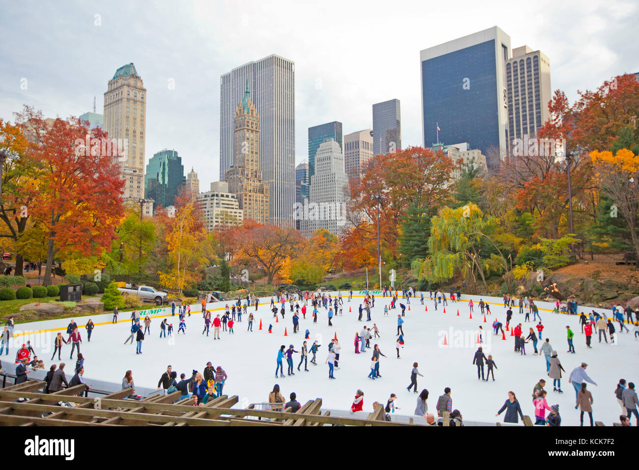 Ice skaters in New York central park during the fall Stock Photo