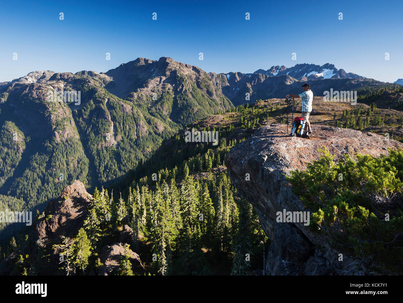 A lone hiker on the Flower Ridge trail overlooks the Henshaw/Shepherd Creek watershed in Strathcona Park.  Strathcona - Stock Image
