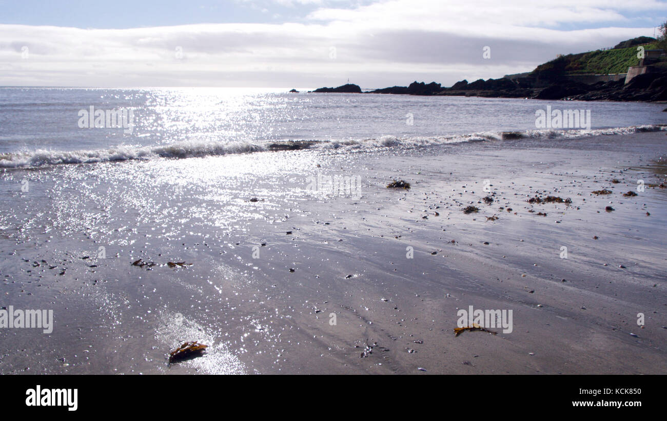 An empty Cornish beach in autumn (October), memories of summers past - Stock Image