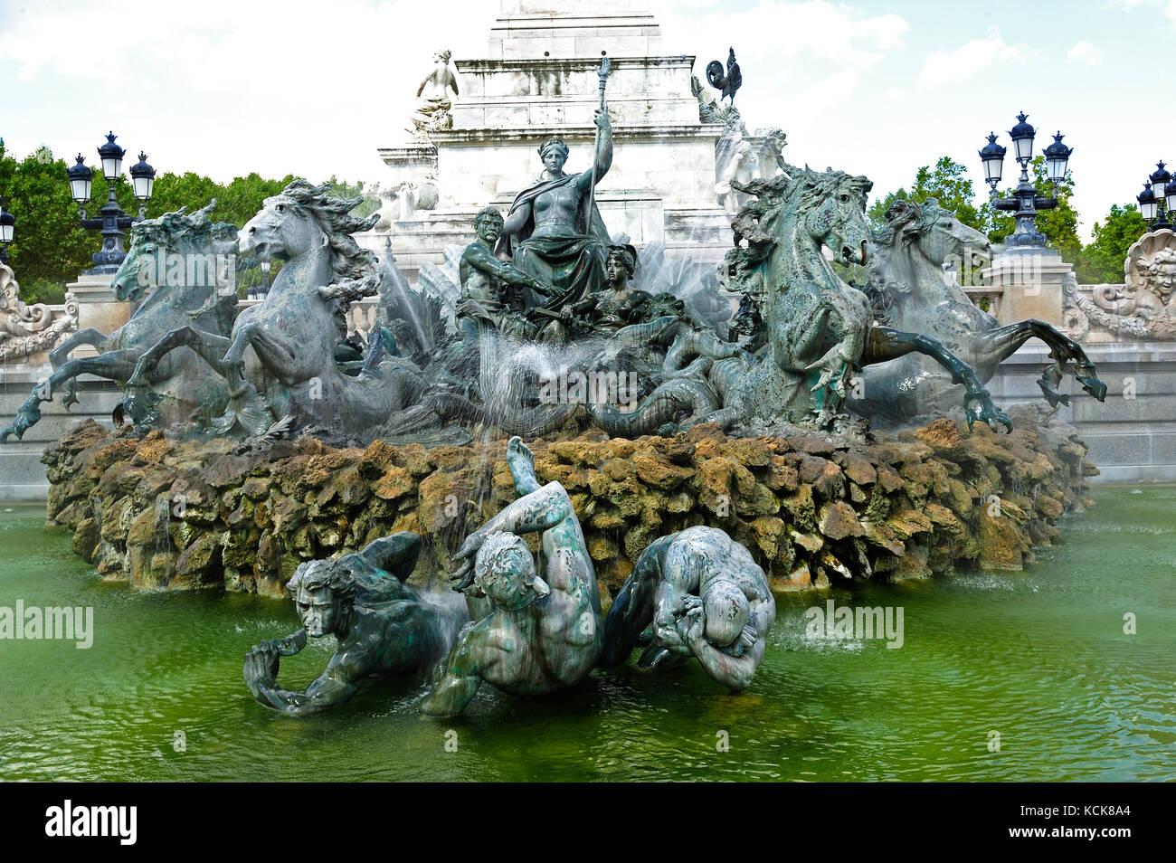 Monument aux Girondins, Place des Quinconces, Bordeaux, Gironde Department, Aquitaine, France - Stock Image