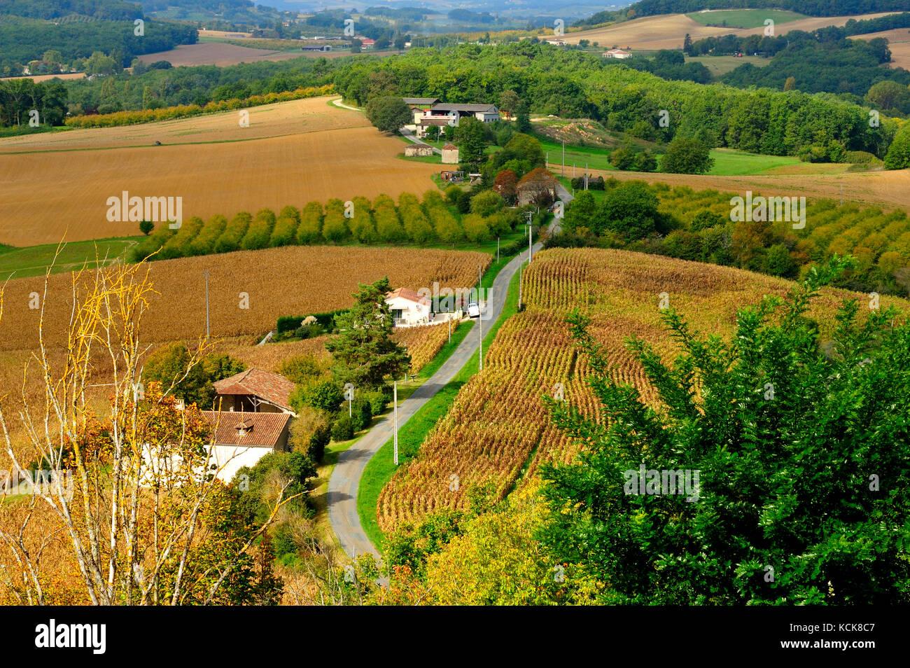 view west from Tournon d'Agenais, Lot-et-Garonne Department, Aquitaine, France Stock Photo