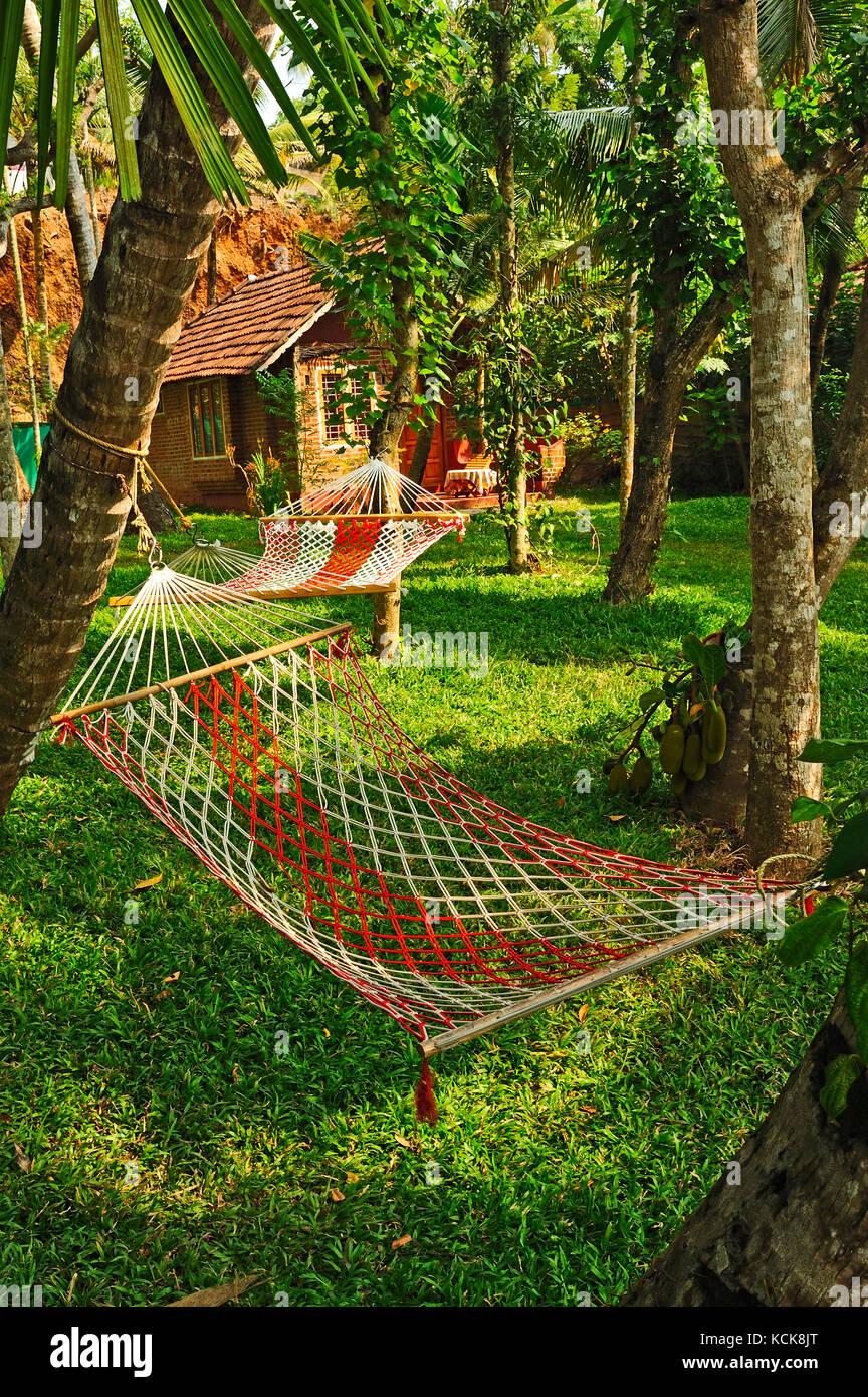 hammock, Ashtamudi Villas, Kollam, Kerala, India - Stock Image