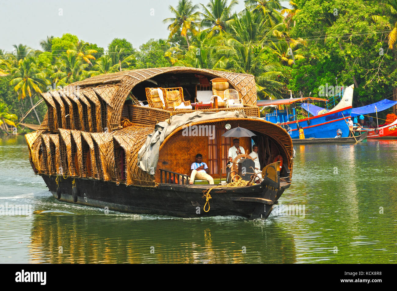house boat in backwaters between Kollam and Cochin, Kerala, India - Stock Image