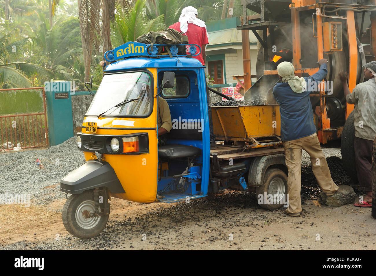 Road construction at Cherai Beach, Kerala, India - Stock Image