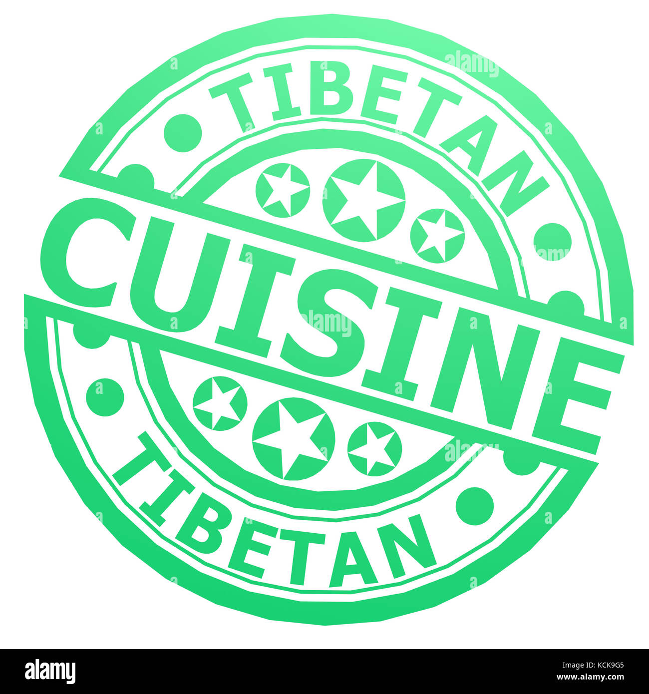 Tibetan cuisine stamp image with hi-res rendered artwork that could be used for any graphic design. - Stock Image
