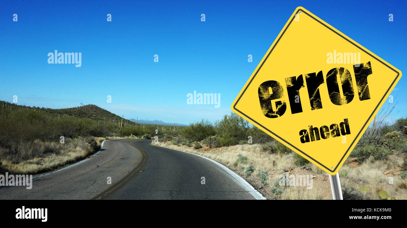 Error ahead sign on a sky background and dessert road - Stock Image