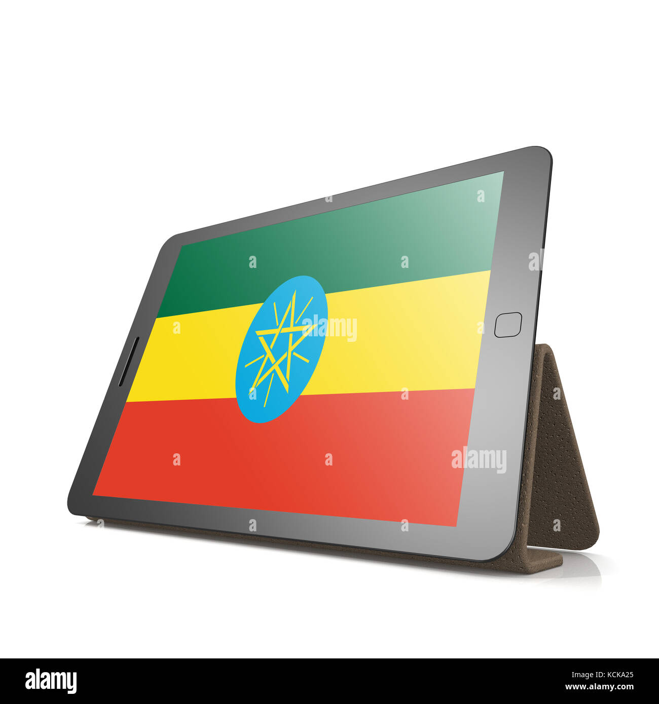 Tablet with Ethiopia flag image with hi-res rendered artwork that could be used for any graphic design. - Stock Image