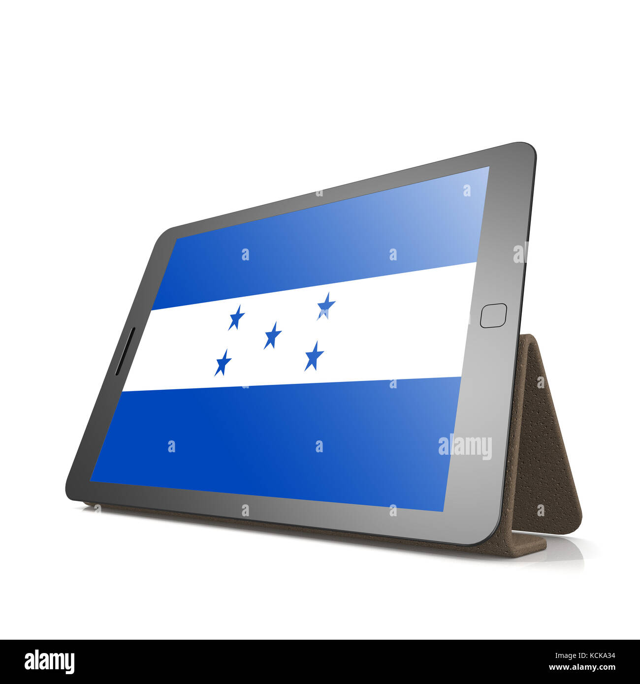 Tablet with Honduras flag image with hi-res rendered artwork that could be used for any graphic design. Stock Photo