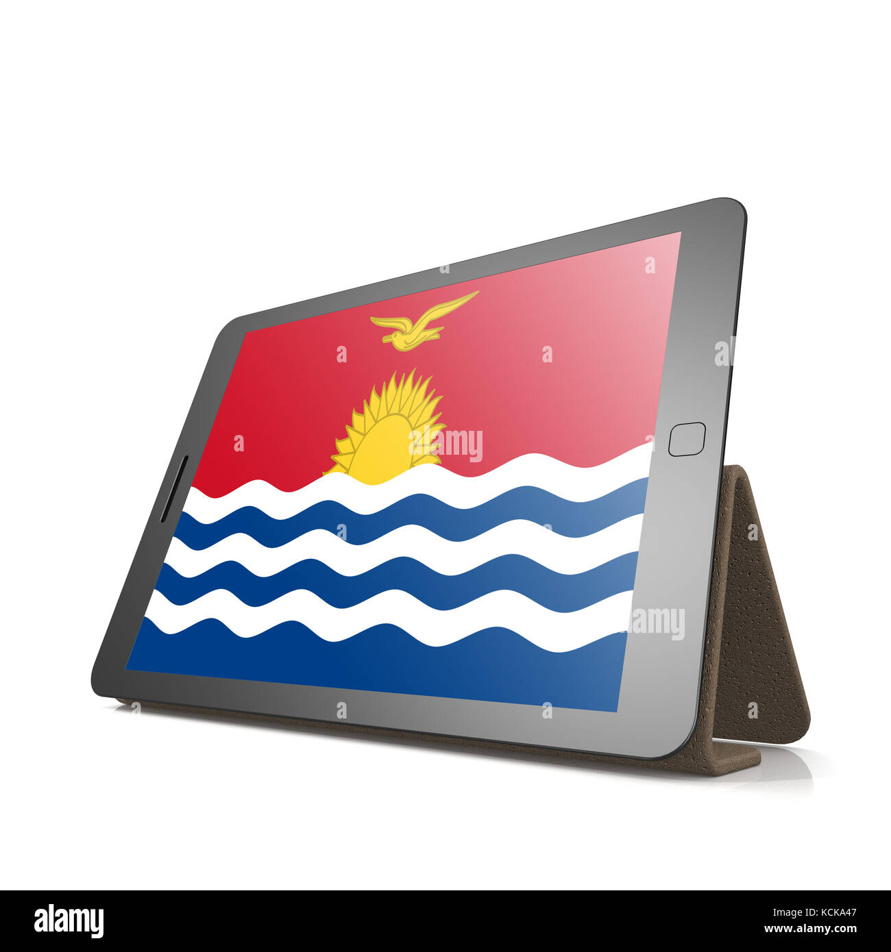 Tablet with Kiribati flag image with hi-res rendered artwork that could be used for any graphic design. - Stock Image