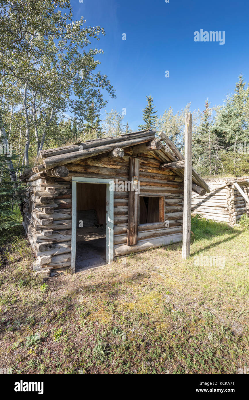 Orloff King Cabin, a prospector cabin on the historical building walking tour in Carmacks, Yukon, Canada - Stock Image