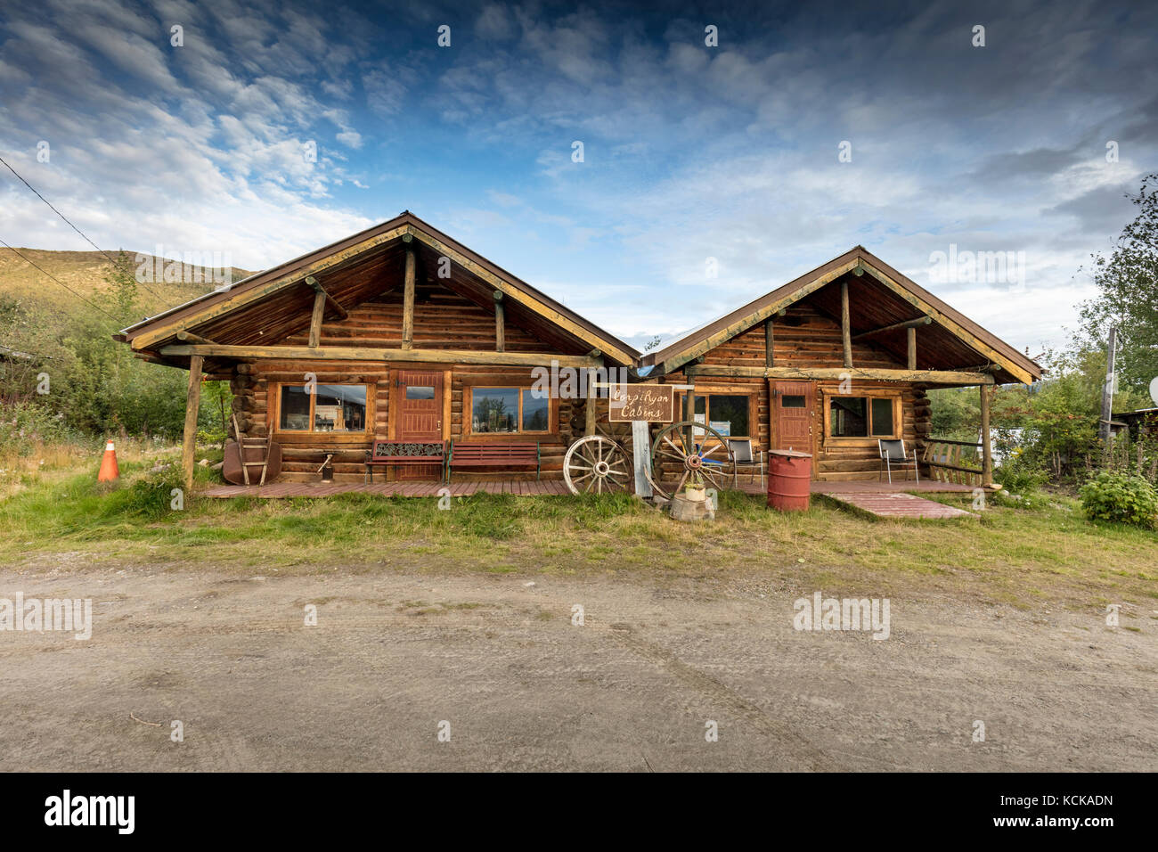 The Duplex, part of the Keno City Historical Buildings Walking Tour in Keno City, Yukon, Canada - Stock Image