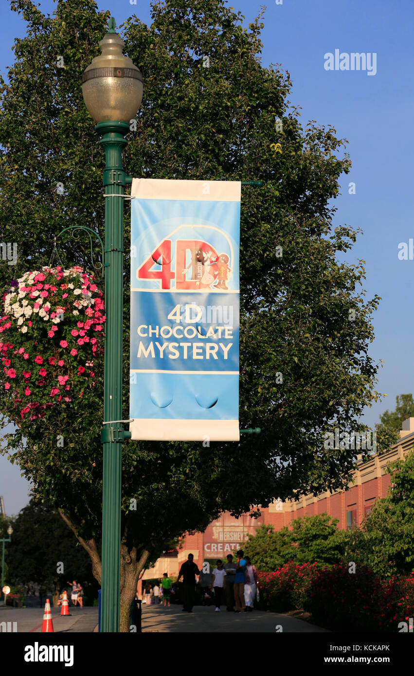 Hershey Chocolate's advertising banners at Hershey's Chocolate World.Hershey.Pennsylvania.USA - Stock Image