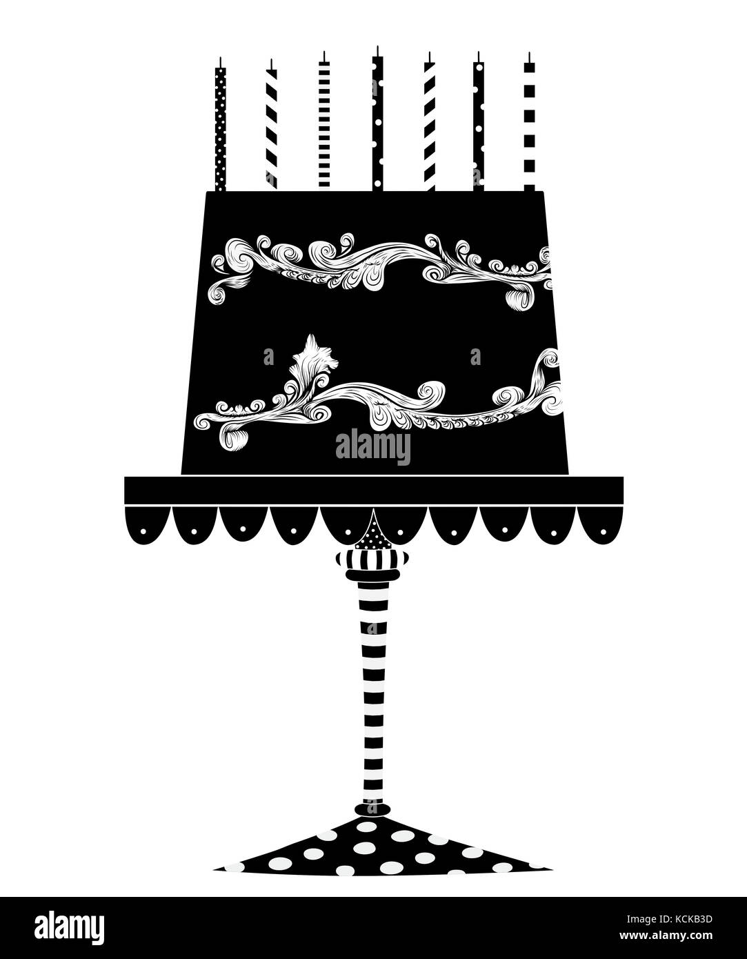Whimsical Black And White Illustration Of A Festive Birthday Cake With Candles Isolated On