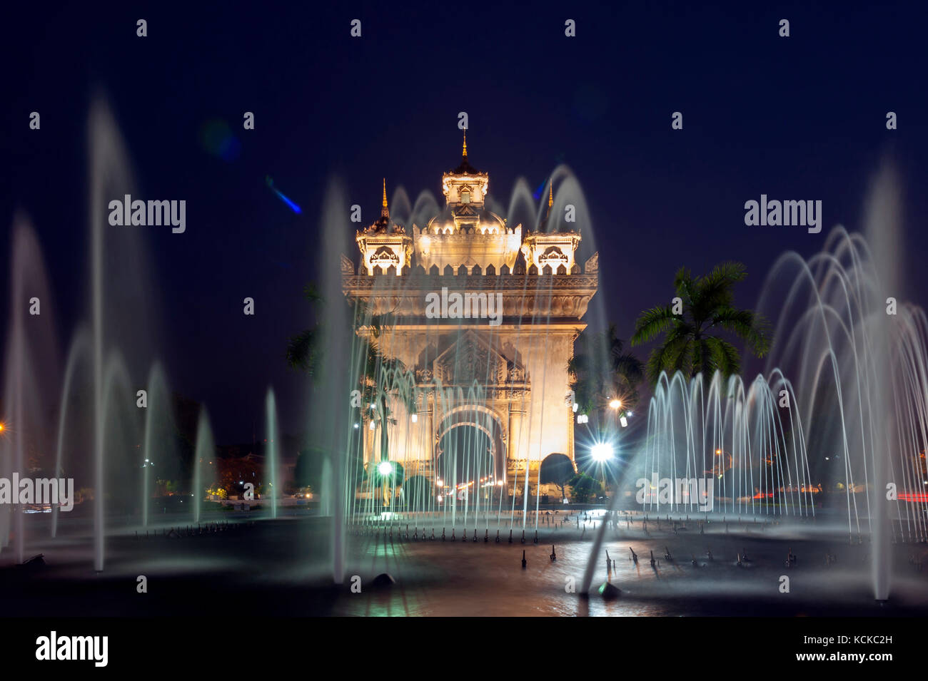 Patuxay or Patuxai Victory Monument, architectural landmark of Vientiane, capital city of Laos - Stock Image