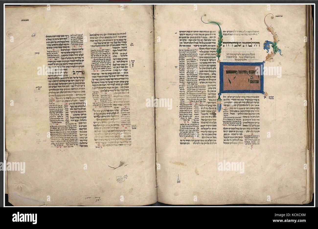 6083. Moses Maimonides, Mishneh Torah, 14th C. Hebrew manuscript from Italy. - Stock Image