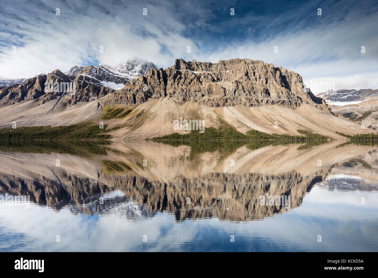 Crowfoot Mountain and Bow Lake, Banff National Park, Alberta (digital composite) - Stock Image