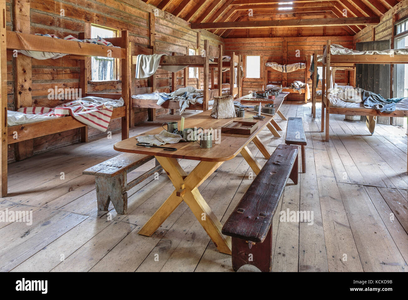 Living quarters for the lodging of The North West Company personnel, Fort William Historical Park, Thunder Bay, - Stock Image
