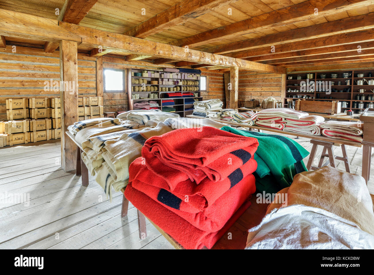 Wool blankets of The North West Company, Fort William Historical Park, Thunder Bay, Ontario, Canada. - Stock Image