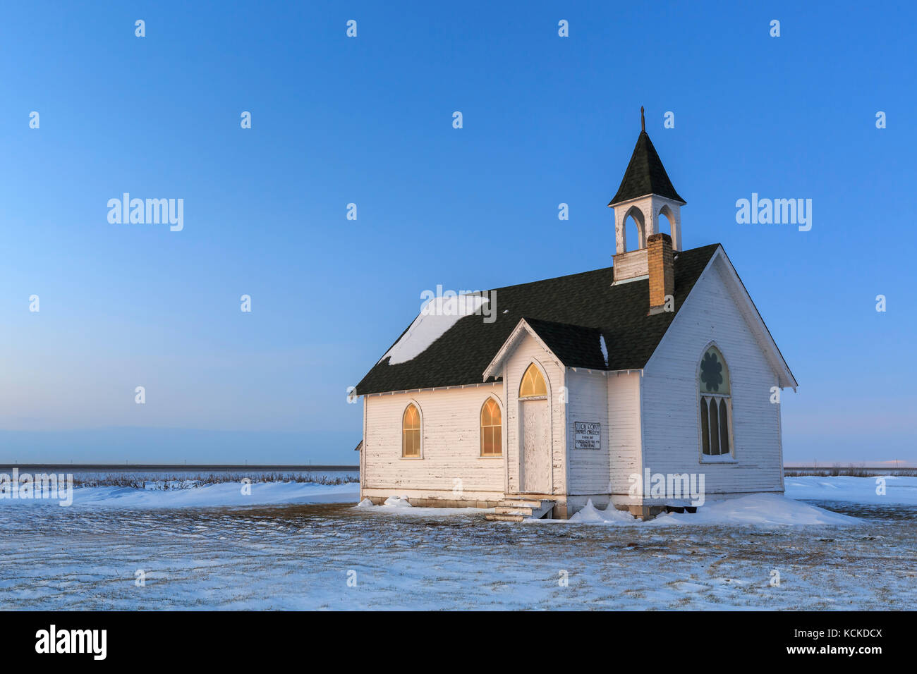 Union Point United Church, an abandoned church in the ghosttown Union Point, Manitoba, Canada. - Stock Image