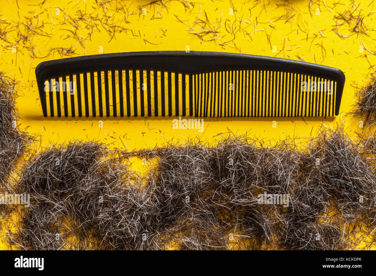 Comb and beard trimmings on a bright yellow background. Concept for male grooming and style concious men for movember - Stock Image