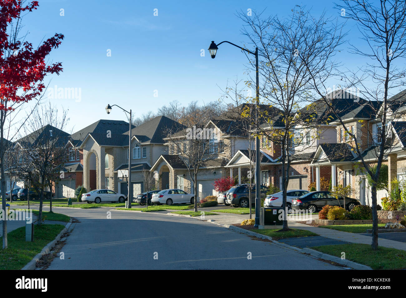 Street of detached single family detached middle-class houses in Canadian suburbs - Stock Image