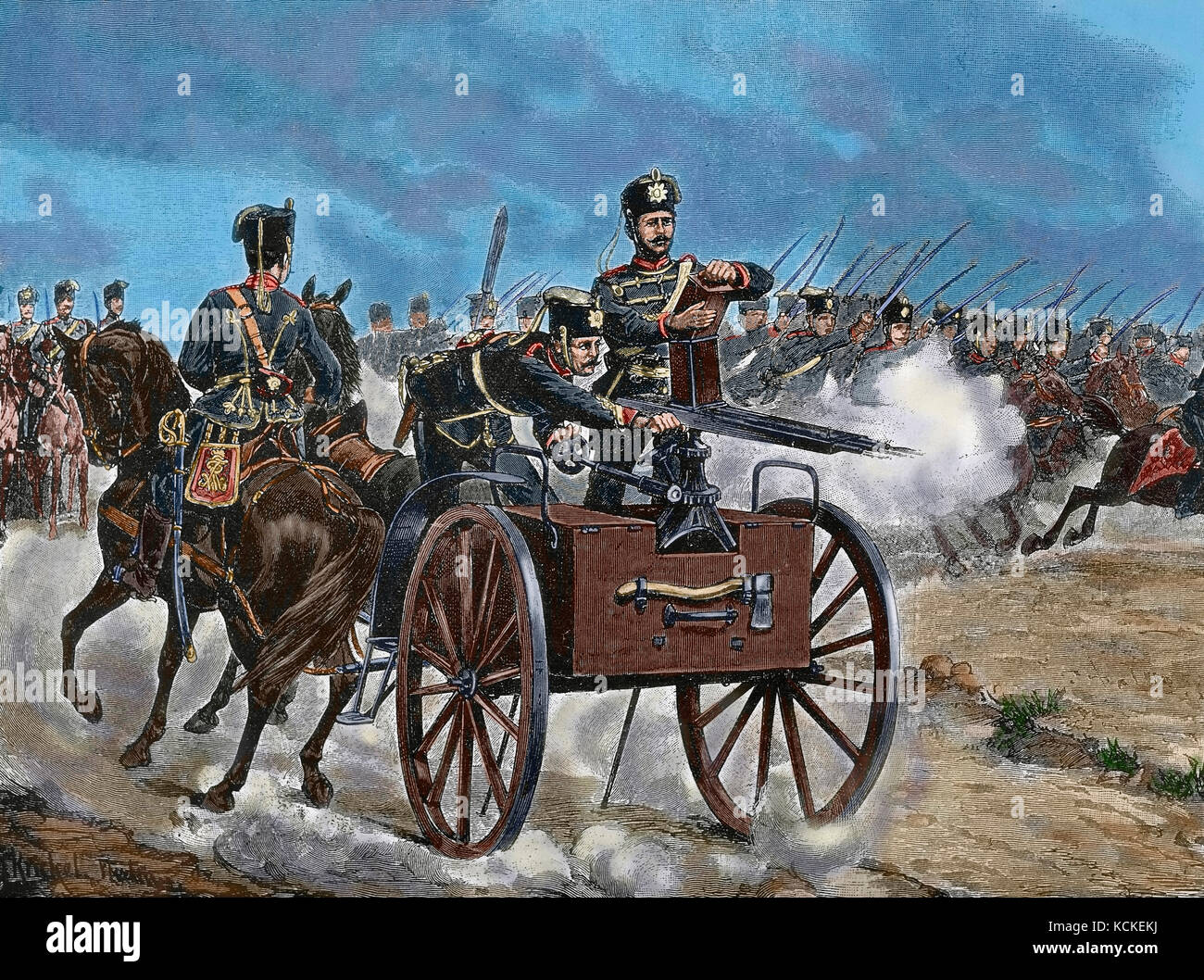 Franco-Prussian War (1870-1871). Troops of the Prussian Guard. Engraving. 'La Ilustracion', 1870. Colored. - Stock Image