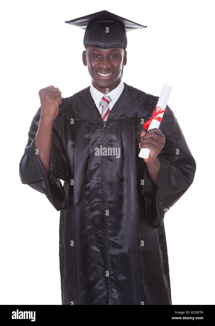 Portrait Of Graduation Man With Diploma Over White Background - Stock Image