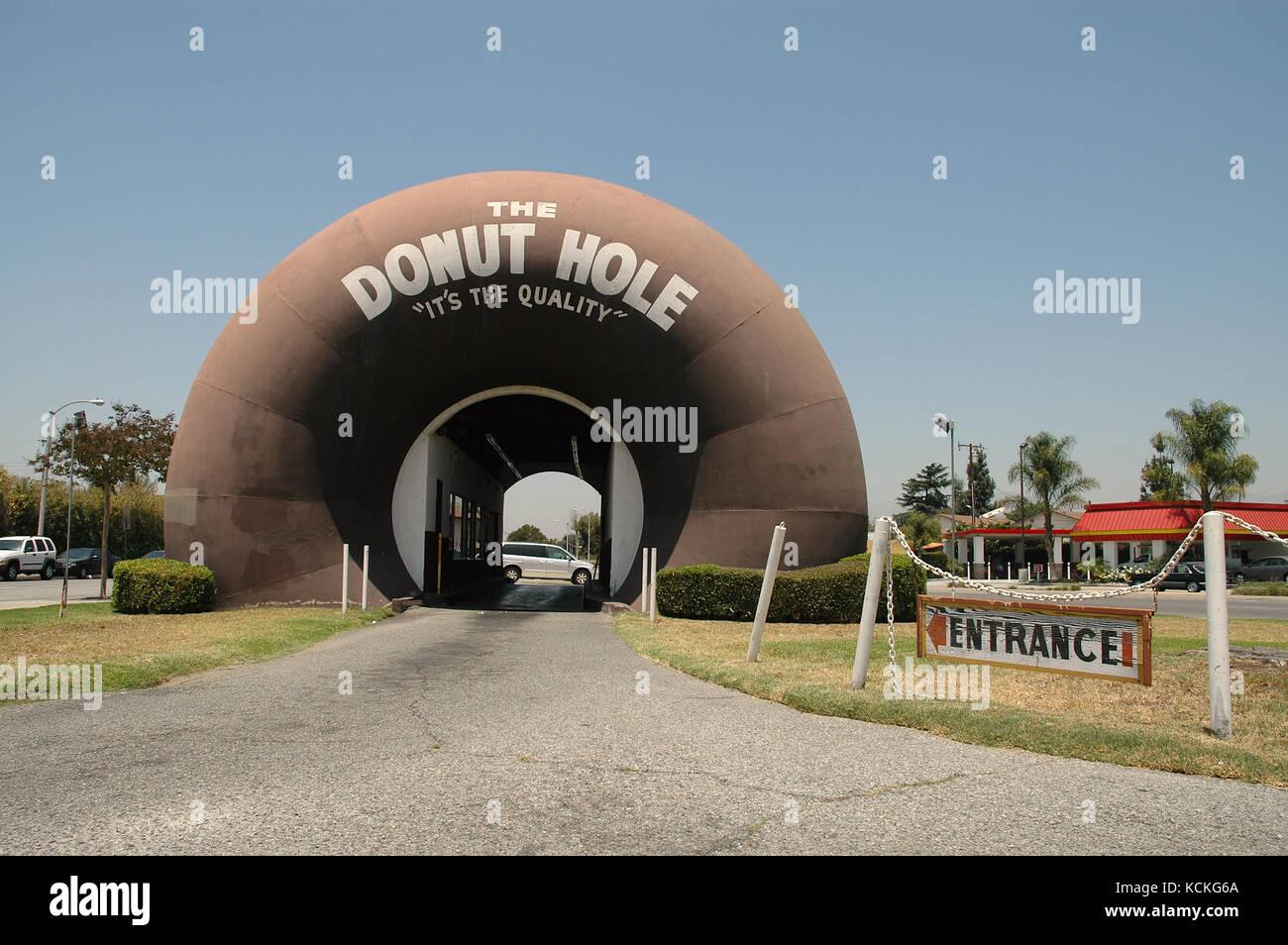 The Donut Hole drive-thru at La Puente, California, USA Stock Photo