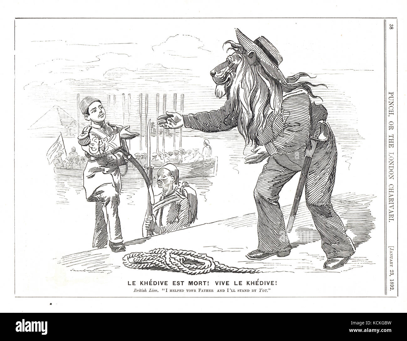 Abbas II of Egypt, welcomed by Britain, 8 January 1892, British Lion extending the hand of friendship in Punch cartoon - Stock Image