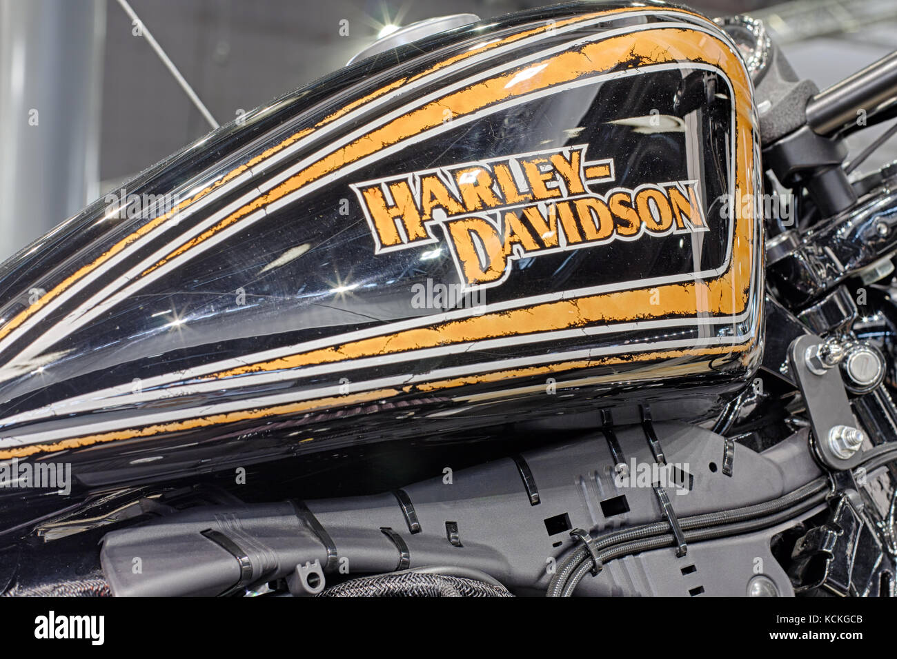 BRNO, CZECH REPUBLIC-MARCH 4,2016: Close up fuel tank of motorcycle Harley Davidson on International Fair for Motorcycles - Stock Image