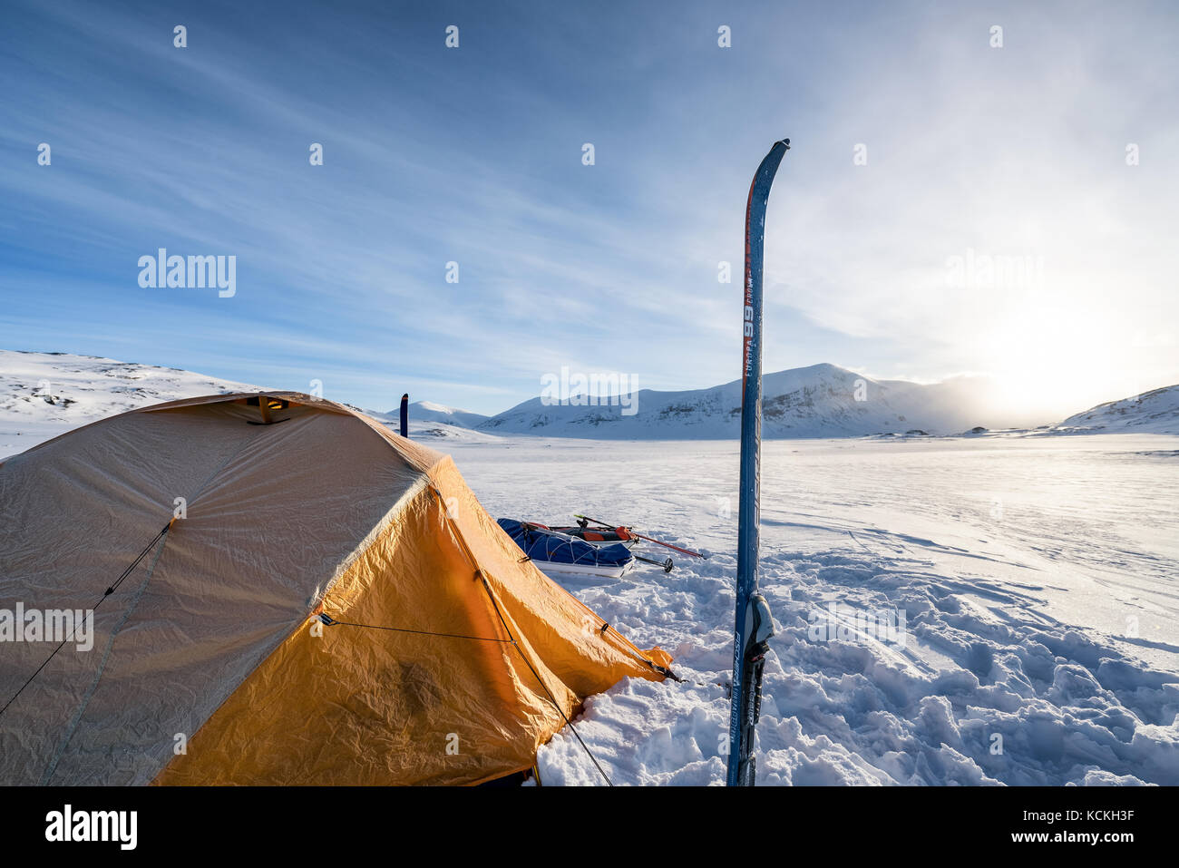 Ski touring in the Kebnekaise massive mountain range, Kiiruna, Sweden, Europe Stock Photo