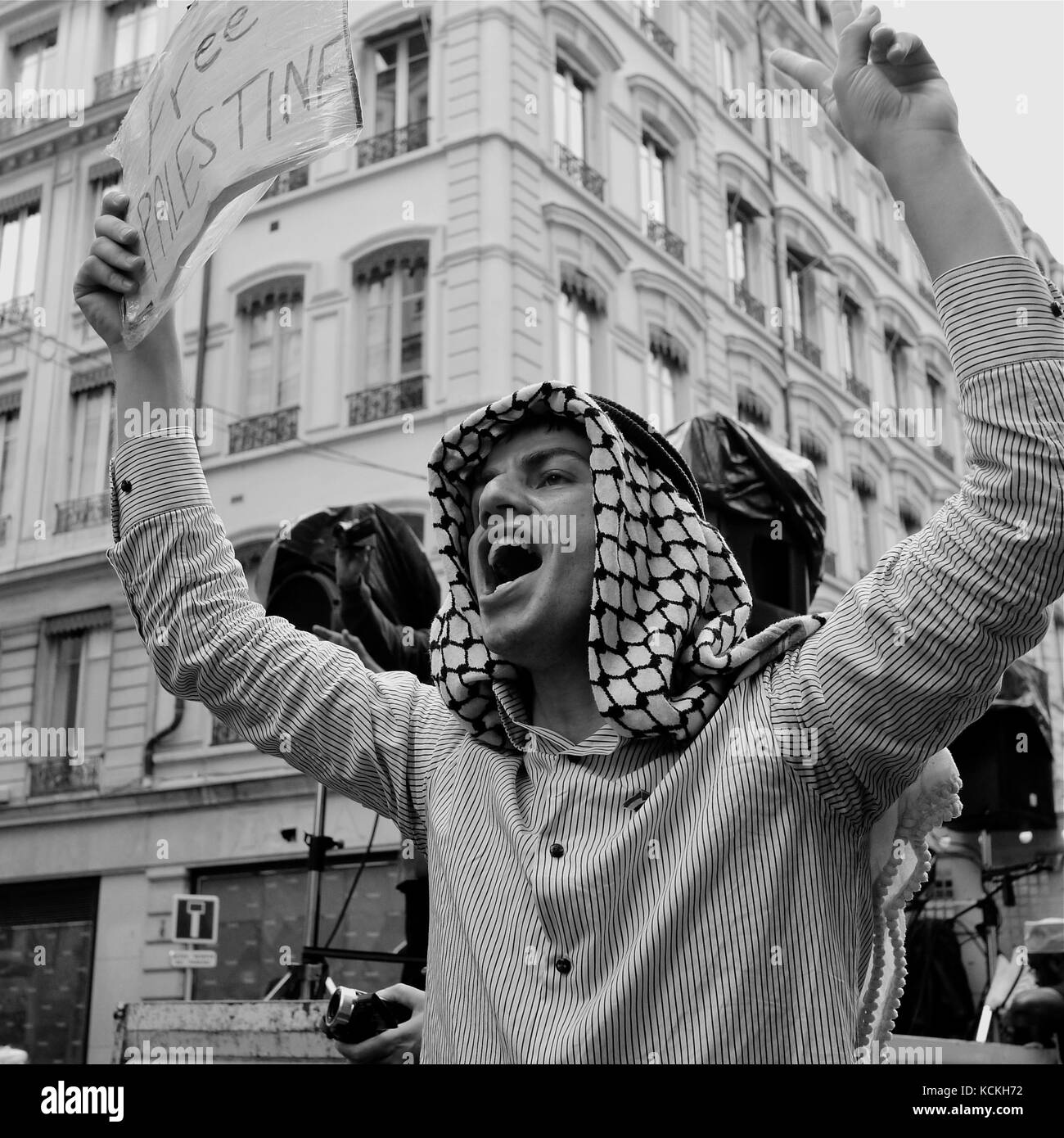 Pro Palestinian protesters march in Lyon, France - Stock Image